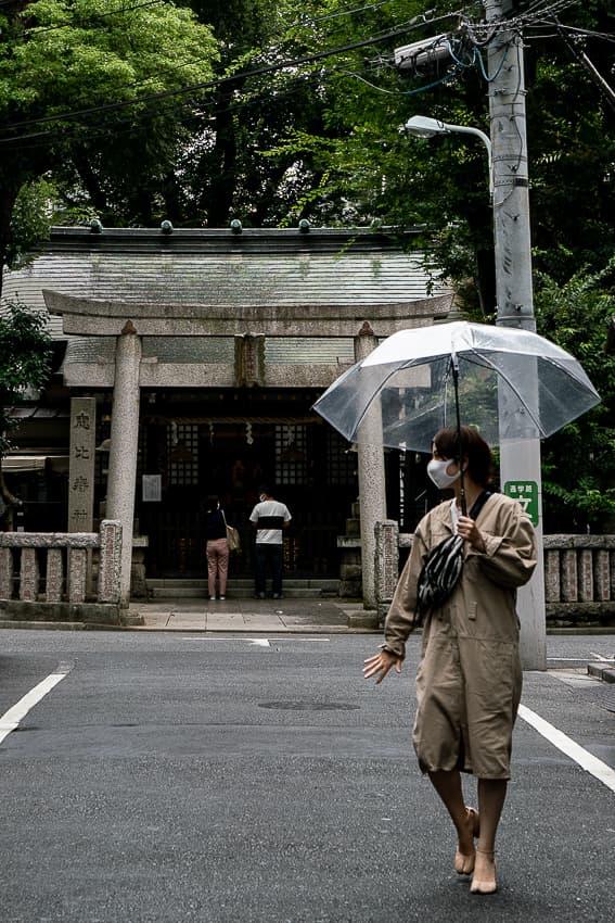 Umbrella in front of Yebisu Jinja Shrine