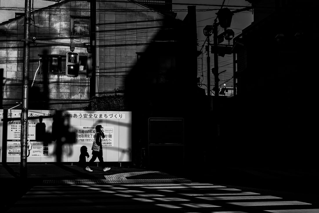 Shinobazu-dori becoming shrouded in shadow