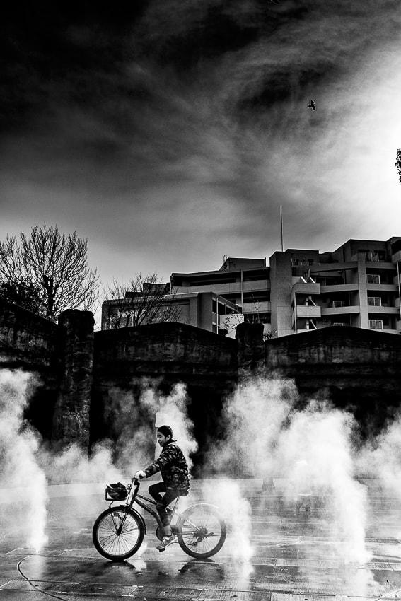 Mist fountain in Omori Shell Mound Ruins Garden
