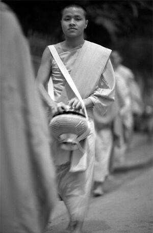 Buddhist monk walking to do morning alms