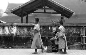 Two little Buddhist monks asking for alms