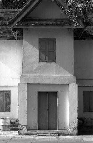 Closed door in Buddhist temple