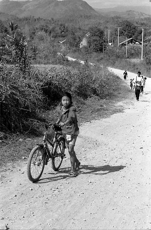 Girl walking bicycle