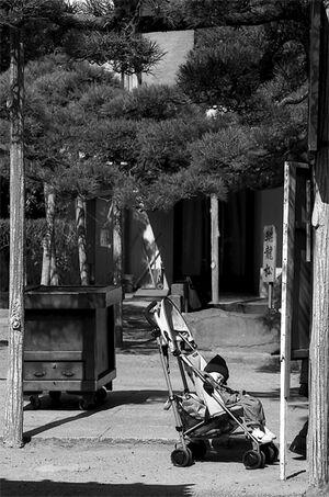 Baby buggy parked in Shibamata Taishakuten