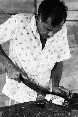 Man cutting ocean-fresh fish