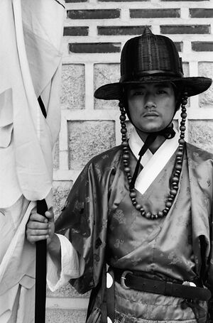 Young man wearing old fashioned costume