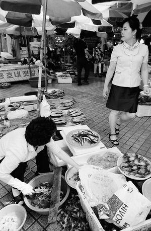 Two women in fish market in Sokcho