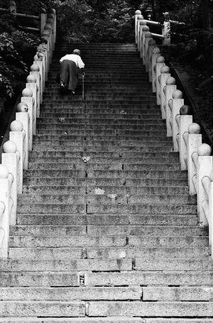 急な階段を登る老婆