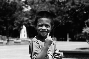 Boy flying a kite happily