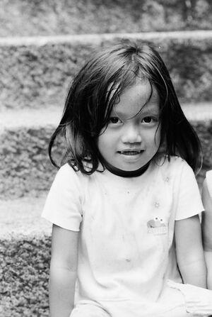 Curious girl smiling