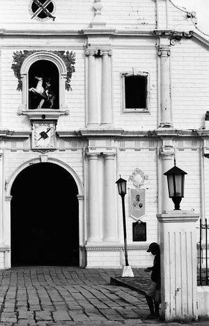 門柱に寄り掛かる人影