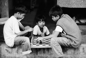 Boys playing chess by roadside