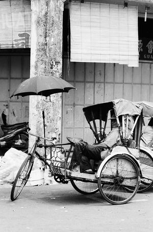 Trishaw with umbrella