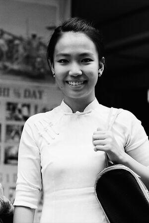 Young woman wearing Ao Dai