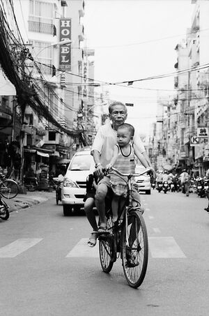 Grandfather riding bicycle with grandson