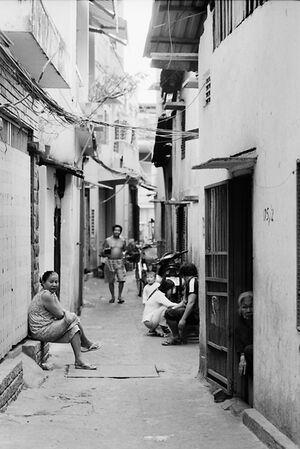 Locals relaxing in lane