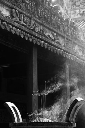 Smoke coming out from incense burner