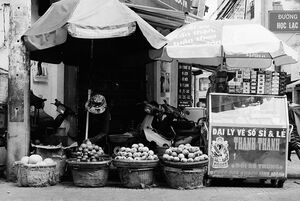 Fruiterer in street corner