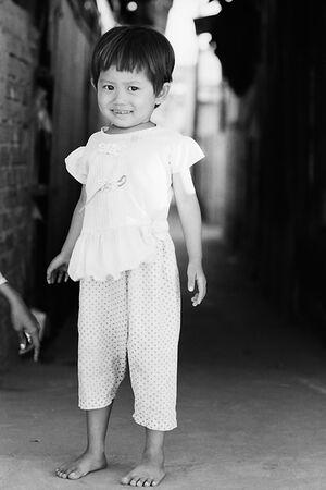 Girl showing bashful smile