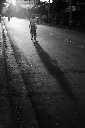 Bicycle running evening street