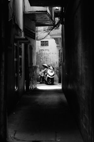 Motorbike in blind alley