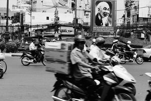 Poster of Ho Chi Minh in center of roundabout