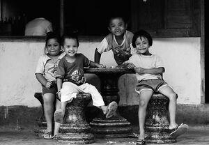 Kids around table