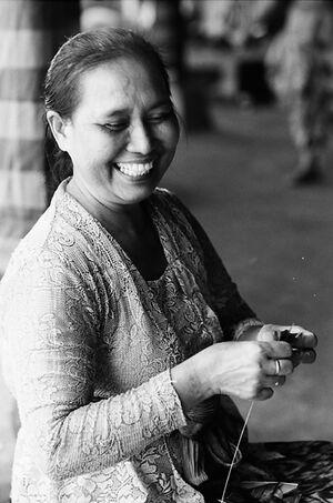 Woman doing needlework
