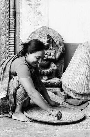 Woman working in Hindu temple