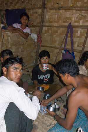 Laborers having lunch