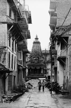 Hindu temple at the end of street