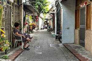 Older woman relaxing in lane