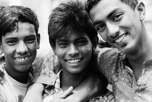 Three cheerful boys