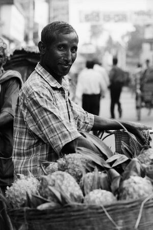 Man selling pineapple