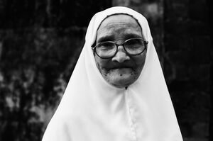 Older woman exposing face