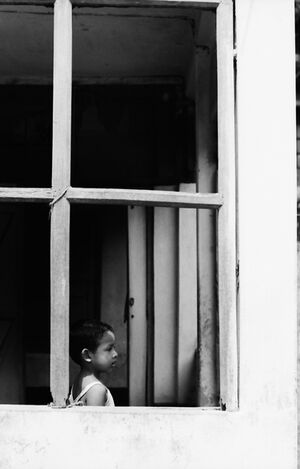 Girl on other side of window