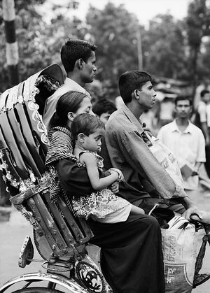 Family on cycle rickshaw