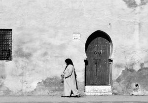 Woman and horseshoe door