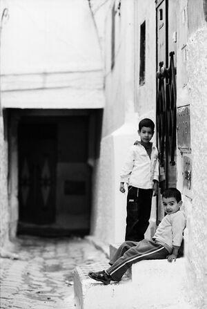 Kids in narrow lane