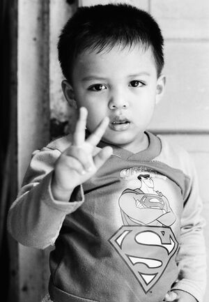 Superman throwing deuce