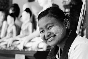 Woman wearing pierced earrings
