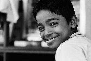 Boy grinning