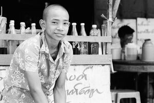 Boy with tonsured head