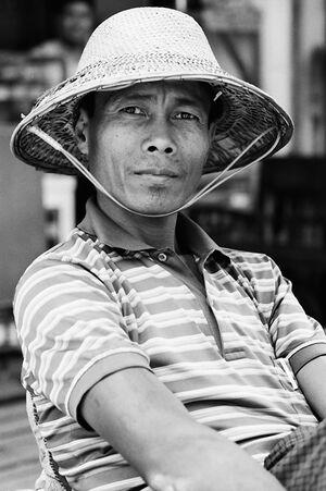 Man wearing pith helmet