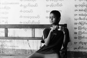 Boy drinking coffee