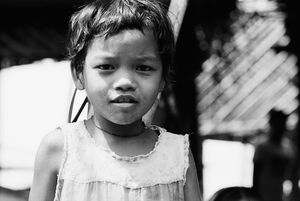 Girl staying motionless