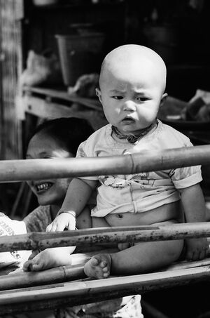 Baby with grumpy look