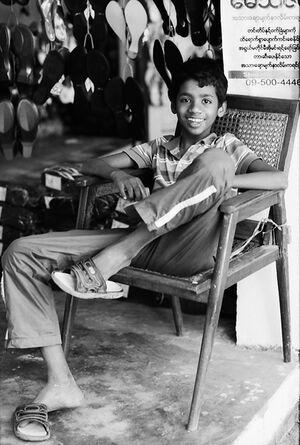 Boy in footwear store