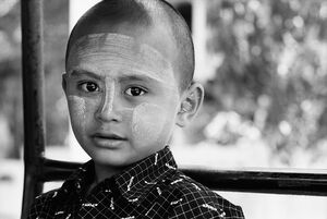 Boy with clean-shaved head