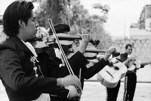 Mariachi in front of church